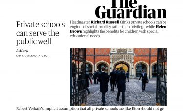 Colfe's Headmaster in The Guardian